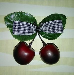 Rockabilly pinup Cherry Bow clip